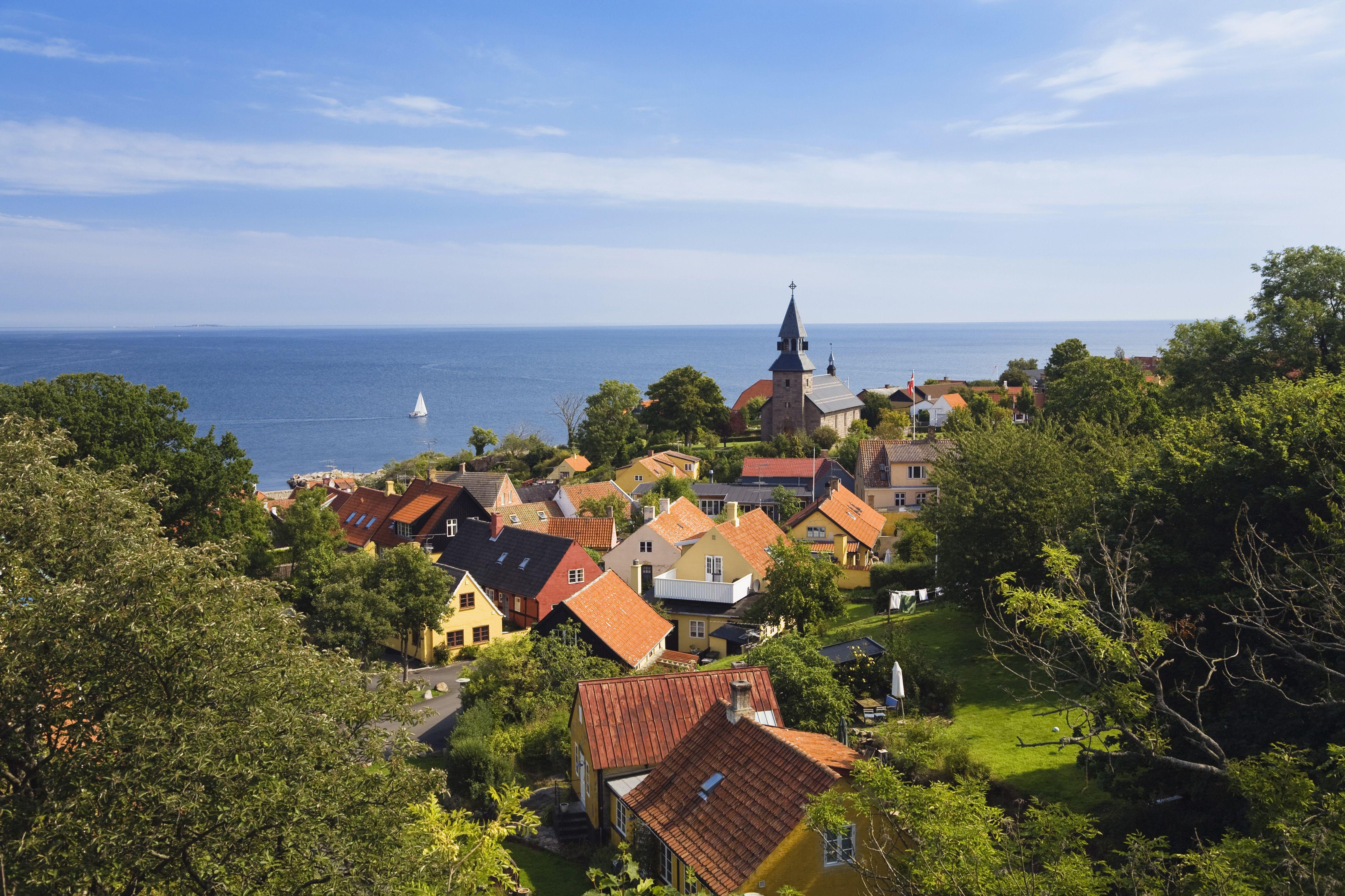 'View over Gudhjem ot Baltic Sea, Gudhjem, Bornholm, Denmark'