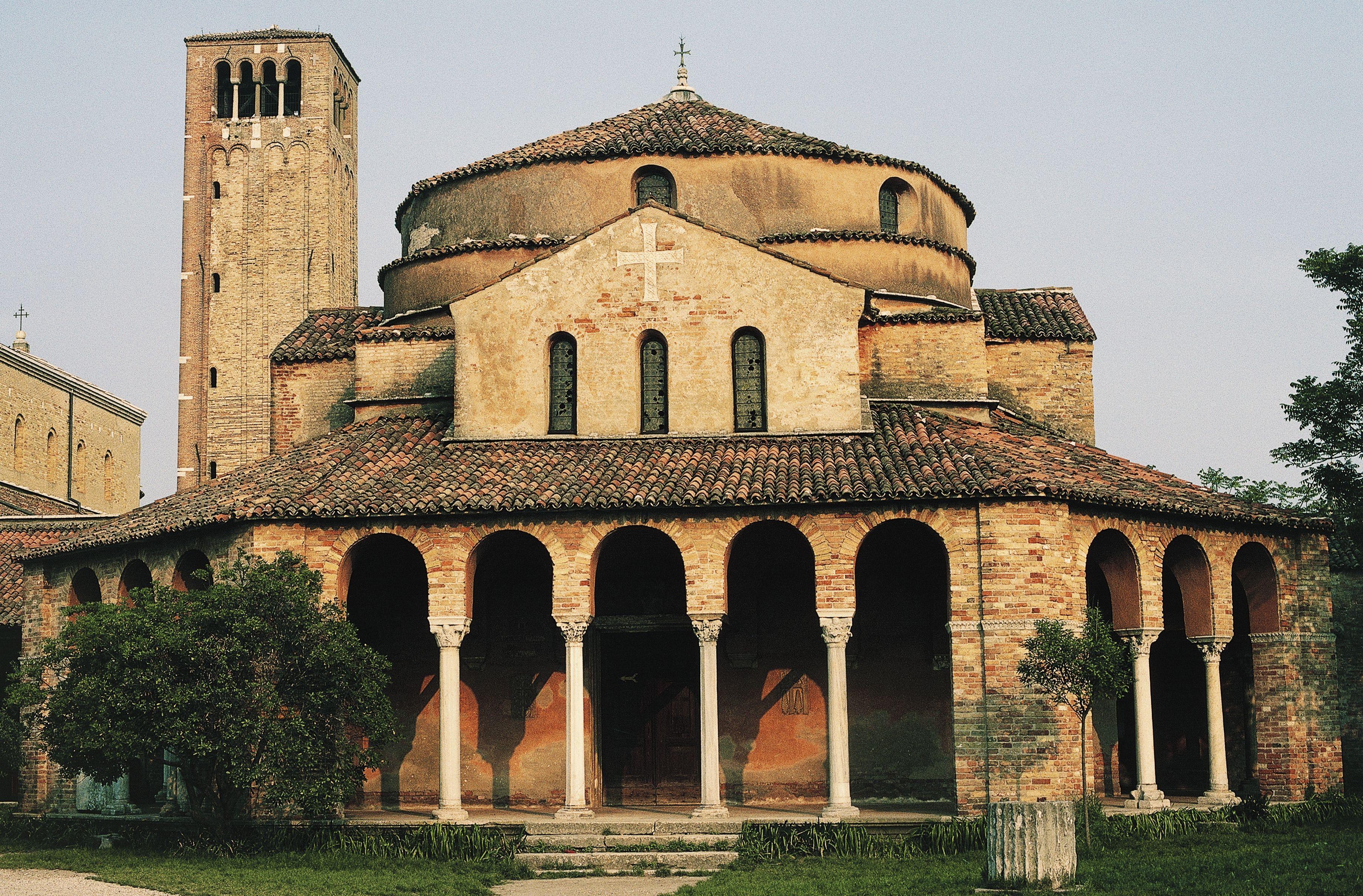 Facade of the Church of Santa Fosca (12th century), Torcello Island, Venice Lagoon (UNESCO World Heritage List, 1987), Veneto, Italy