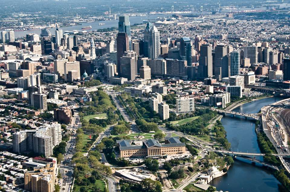Aerial view of the Philadelphia skyline