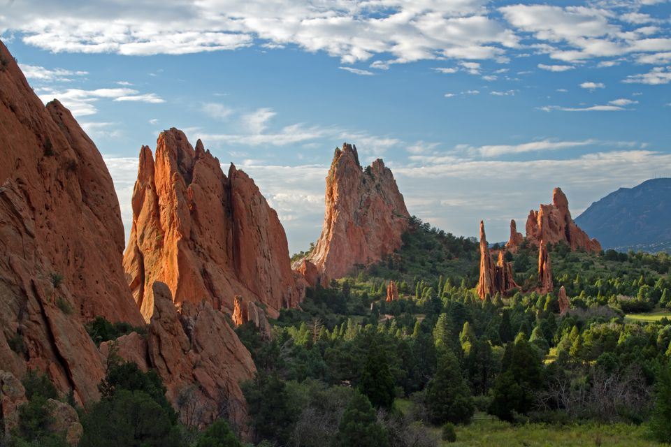 Blue skies with clouds over lookout view of Garden of the Gods