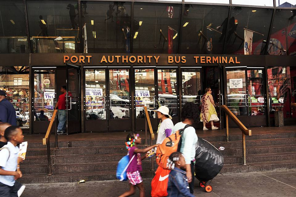 An entrance to the Port Authority Bus Terminal