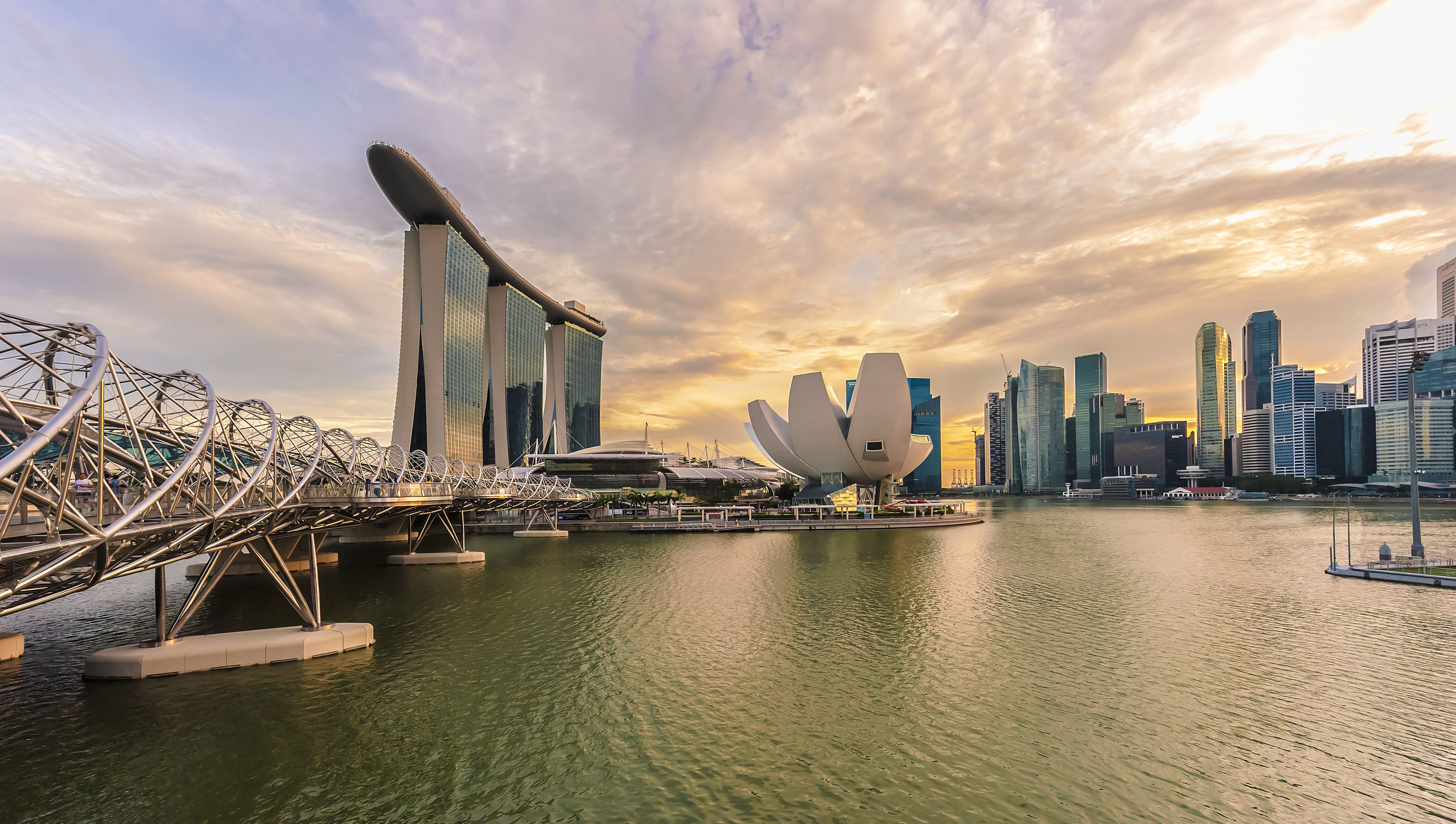 Singapore city skyline and waterfront at sunset