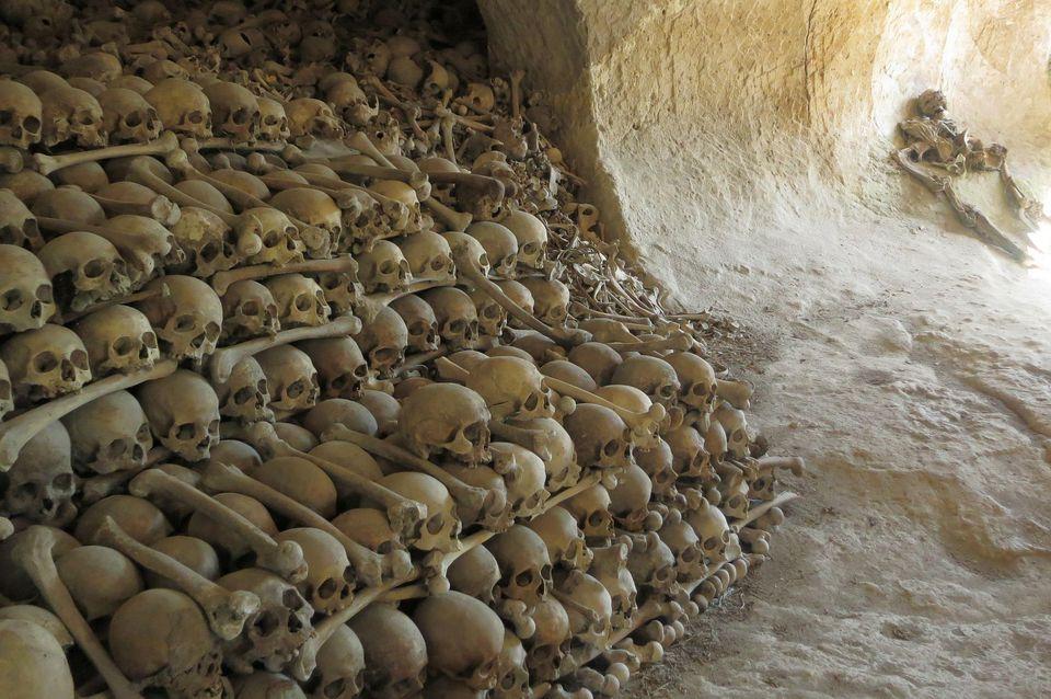 skulls in cave