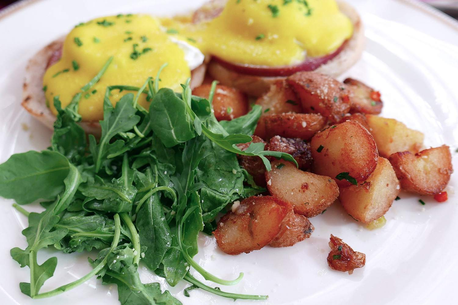 Eggs Benedict, Canadian Bacon, Hollandaise, Fines Herbes at Bistronomic,