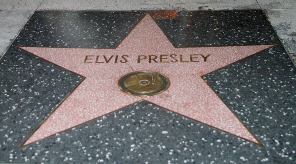 The star of Elvis Presley on the Hollywood Walk of Fame seen on the 24th anniversary of singer''s death August 16, 2001 in Los Angeles, CA.