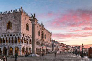 Awesome sunrise over Doges palace, Venice