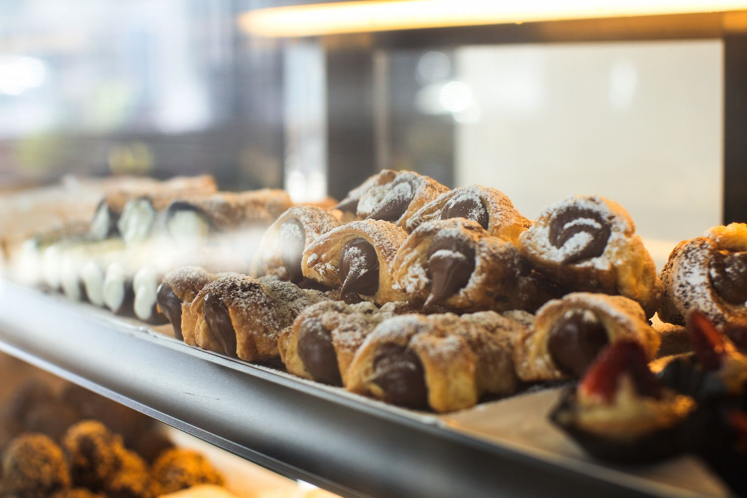 Pastries in a spanish pasteleria or bakery