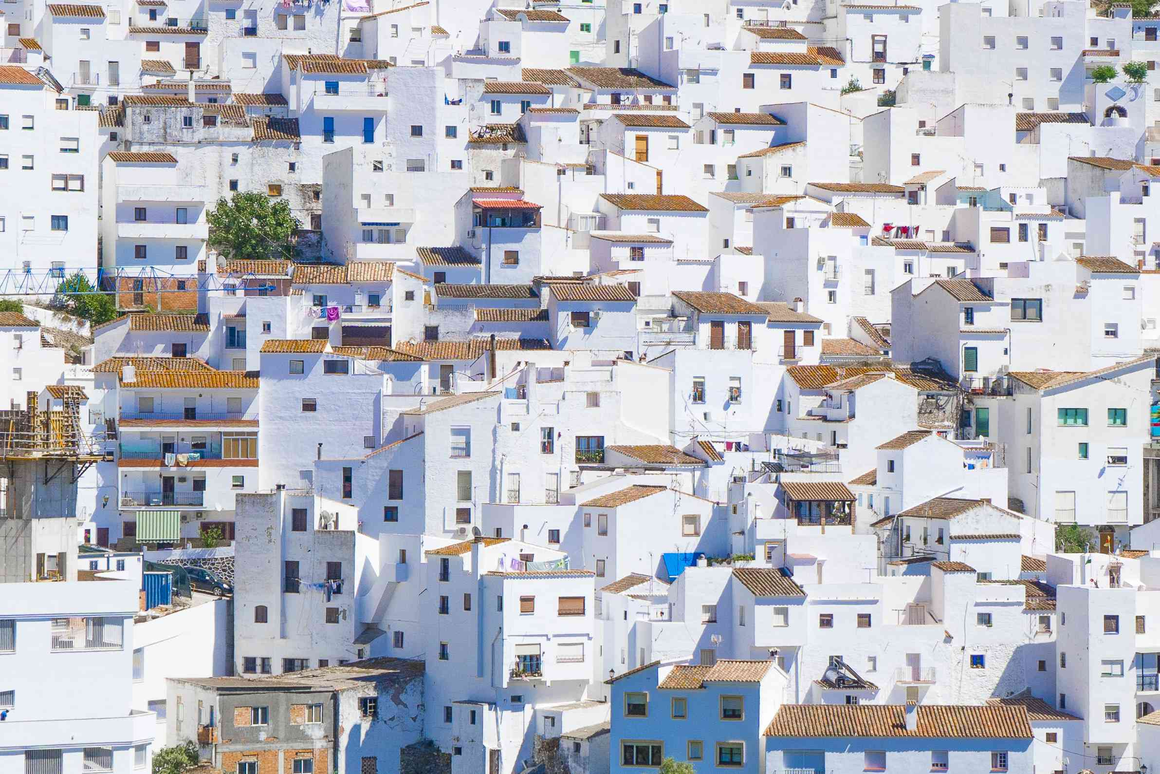 High Angle View Of White Houses In Town, Lebrija, Spain