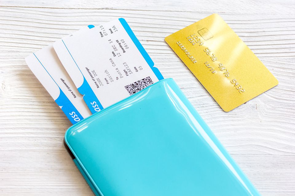 credit card and boarding pass