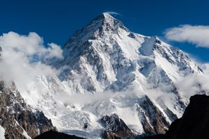 The snow-covered peak of K2 rising above the clouds