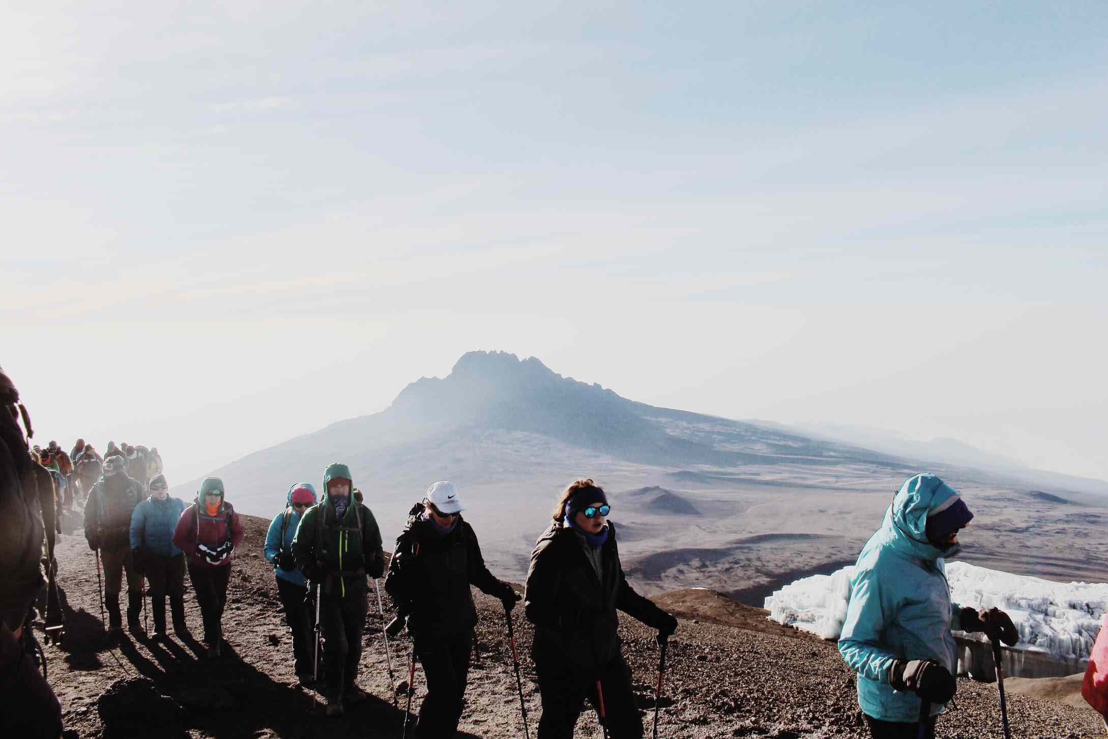 A group of hikers on Mt Kilimanjaro
