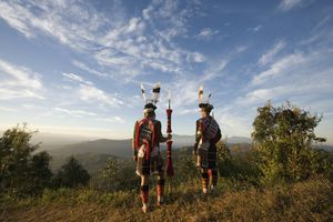 Angami Tribal Dancers standing on Viewpoint in Nagaland.