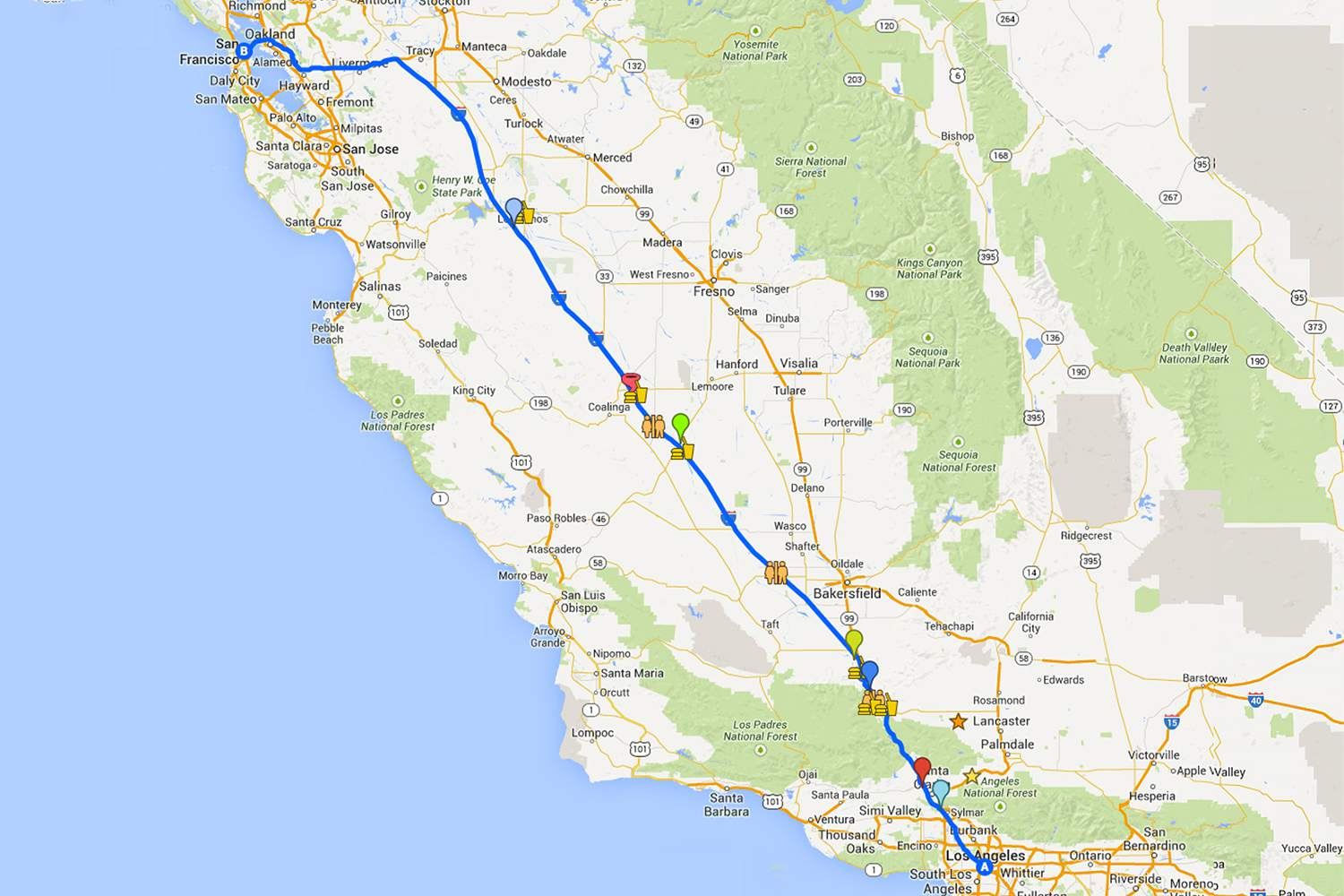 Map Of California 5 Freeway.Driving From La To San Francisco On I 5 Highway