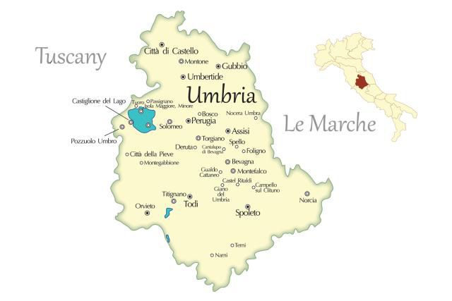 Umbria cities travel map in italy umbria city travel map thecheapjerseys Choice Image