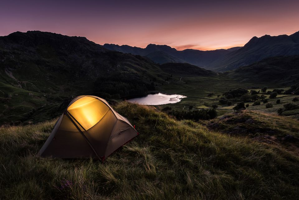 Tent at Dusk in English Lake District