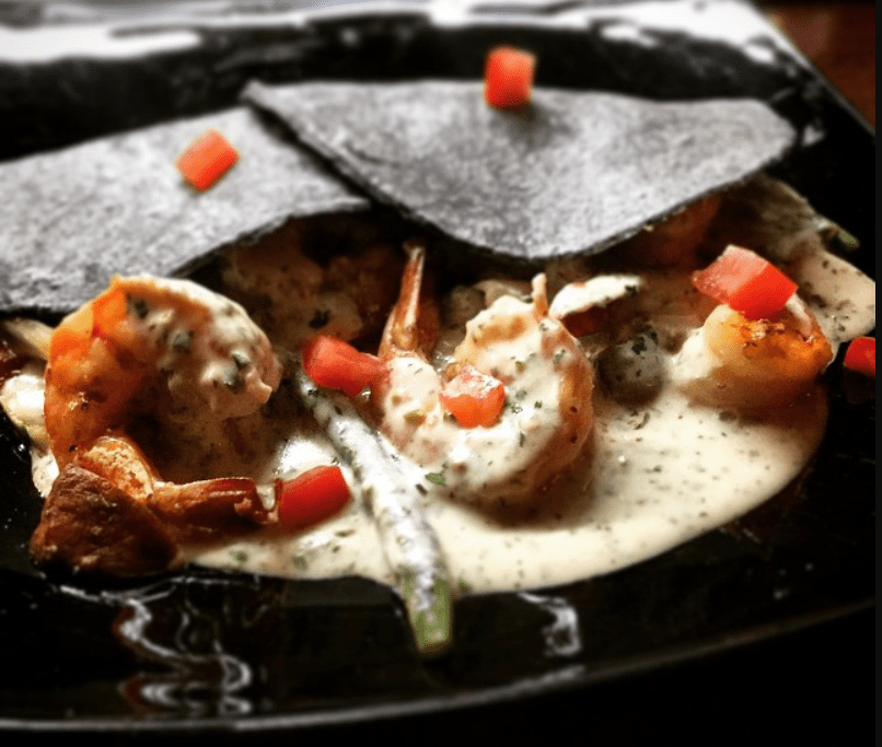 Shrimp dish at Peter's Restaurant in Cancun