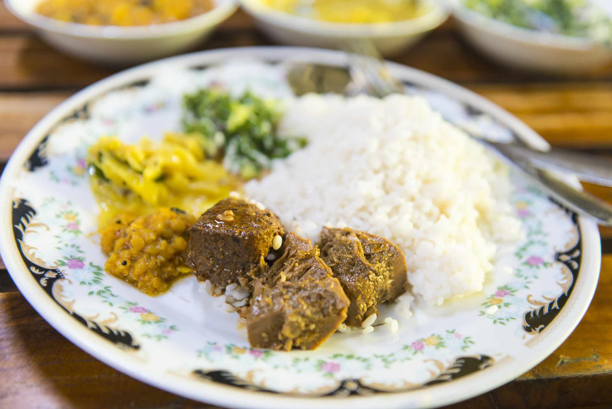 Jackfruit curry in Sri Lanka with rice and chutneys