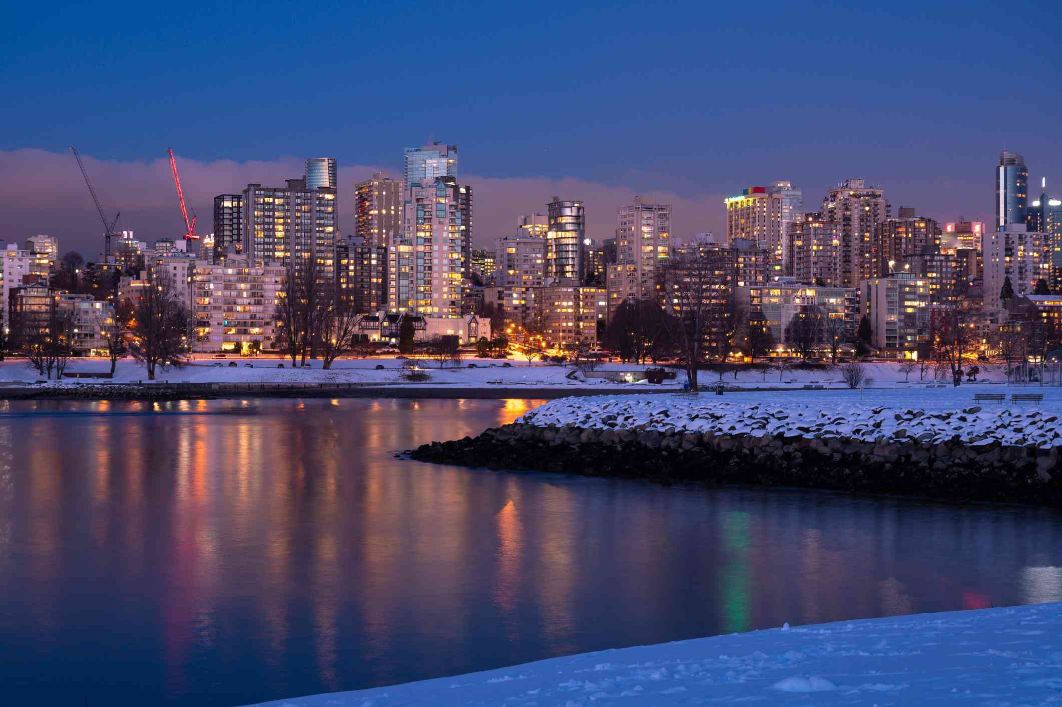 Vancouver skyline surrounded by fresh snow in winter