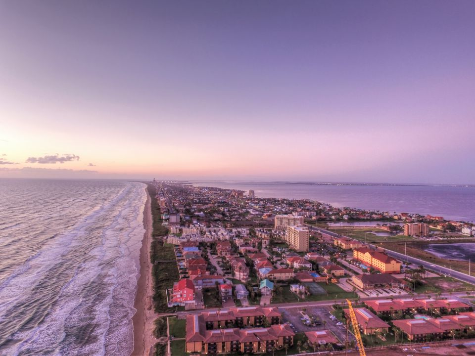 Aerial view of South Padre Island during sunset