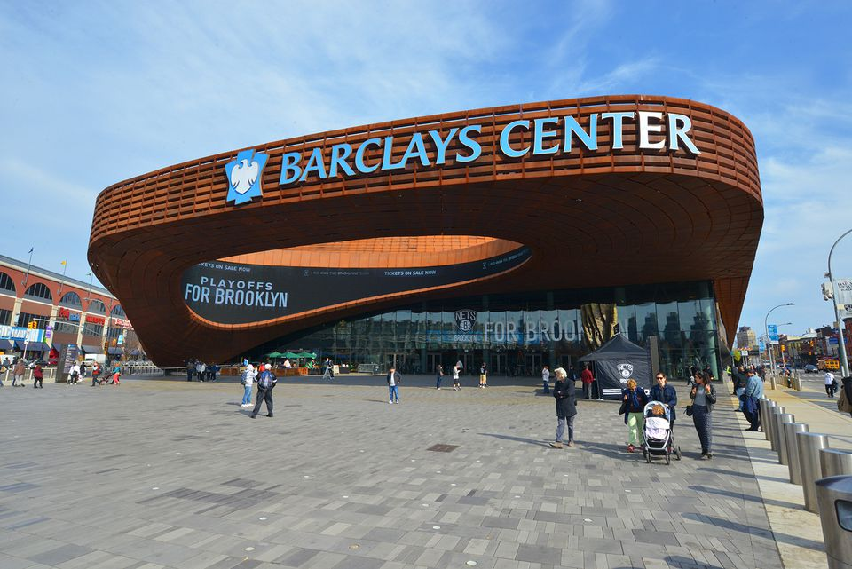 An exterior shot of the Barclays Center arena