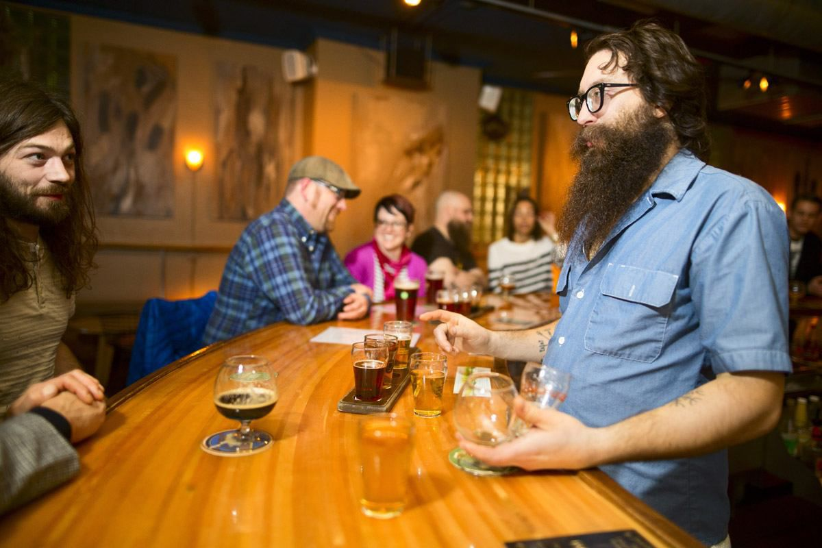 A flight of beers served at Sugar Maple in Milwaukee