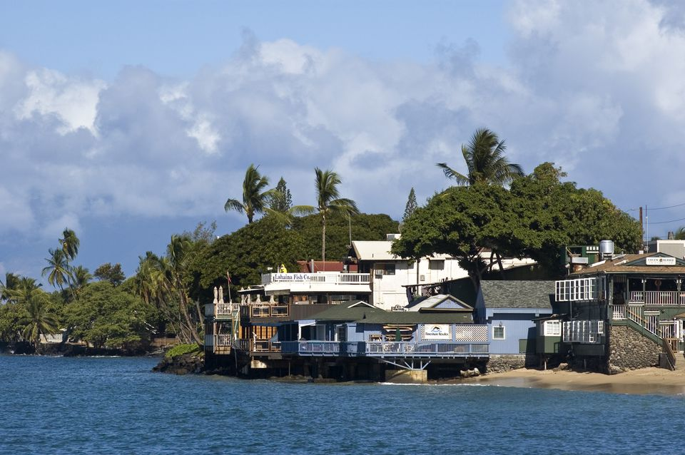 View of Lahaina Fish Co. from the water on Maui.