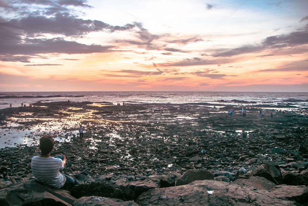 A person sitting on the rocks along Bandstand watching the sunset