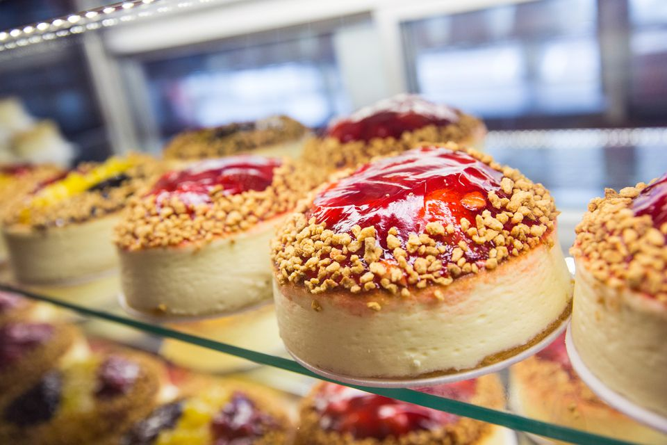 Cheesecake sits for sale in the bakery display counter of Junior's restaurant, a staple of Brooklyn dining since the 1950s in the downtown Brooklyn neighborhood of the Brooklyn borough of New York City.