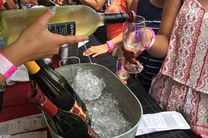 Pouring wine at Vintage Virginia Wine Festival