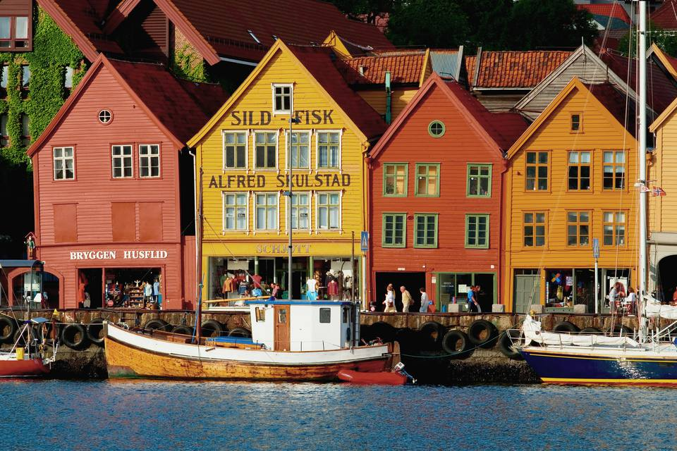 Bryggen waterfront buildings.
