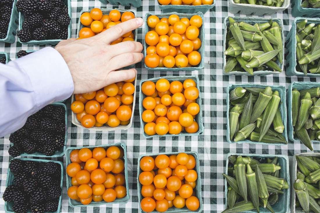 Okra, tomates and blackberries at the Penn Quarter FreshFarm Farmers market
