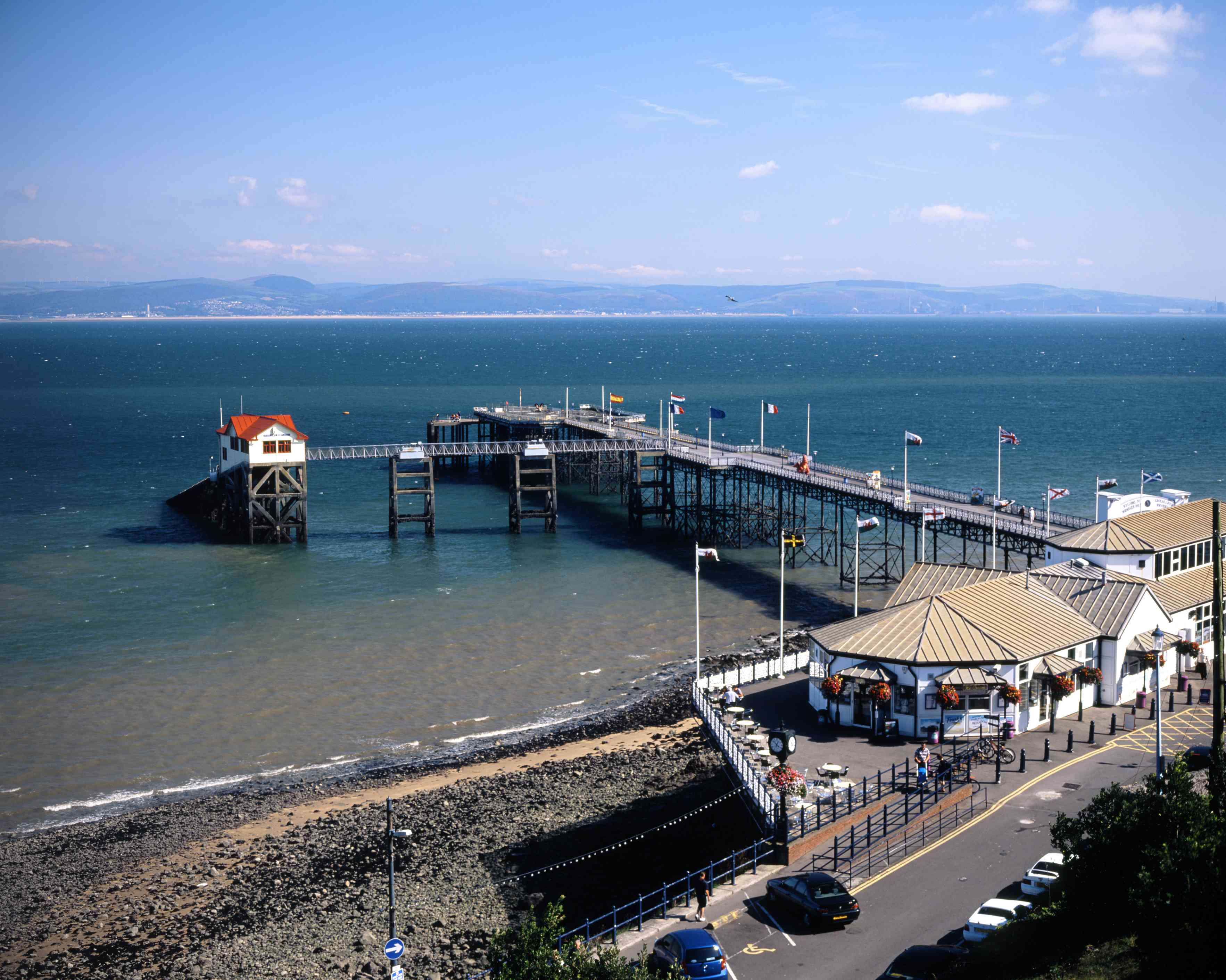 aerial view of a pier in wales