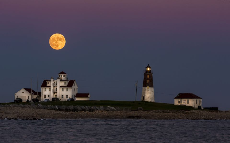 Narragansett Harvest Moon Over Point Judith Light