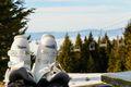 White ski boots on top of ski resort
