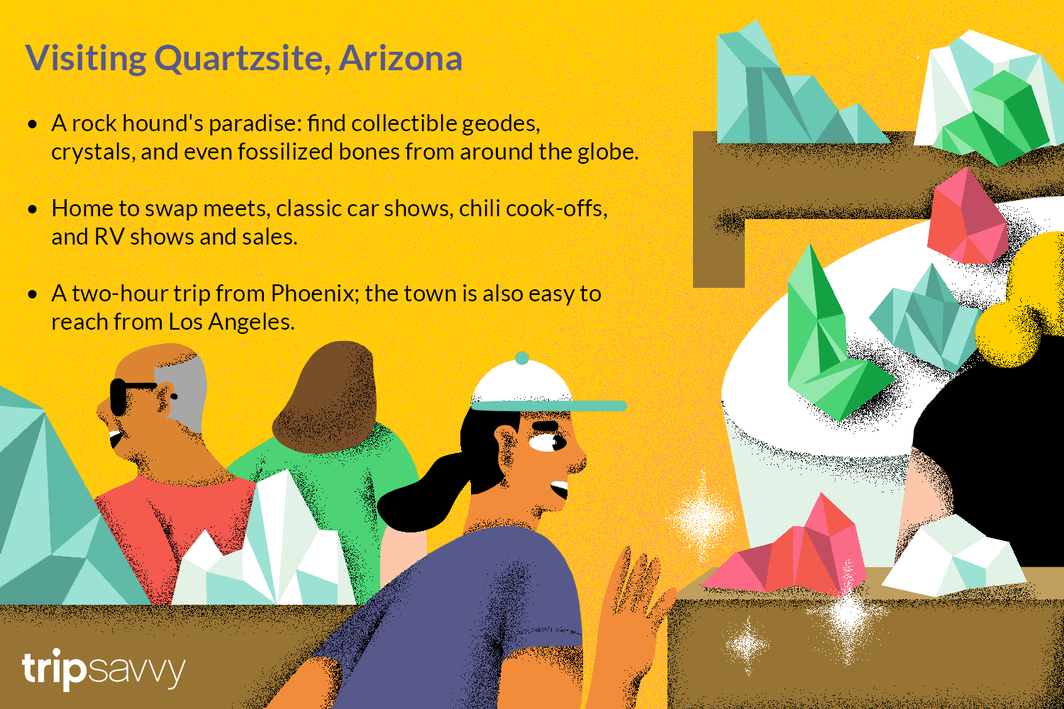 an illustration with tips and drawings of people shopping in Quartzsite, Arizona