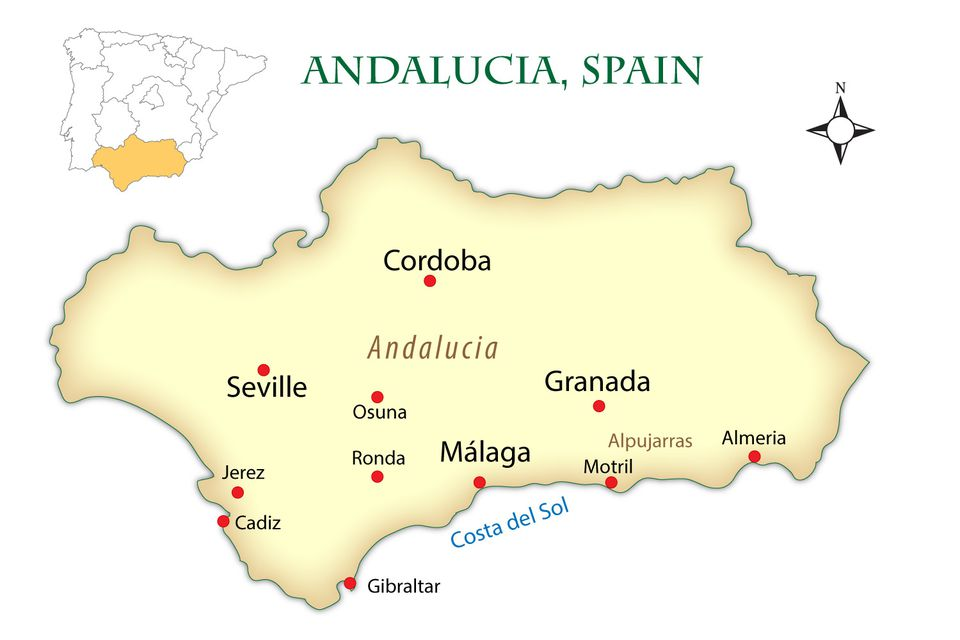 Travel Map Of Spain.Andalusia Spain Cities Map And Guide