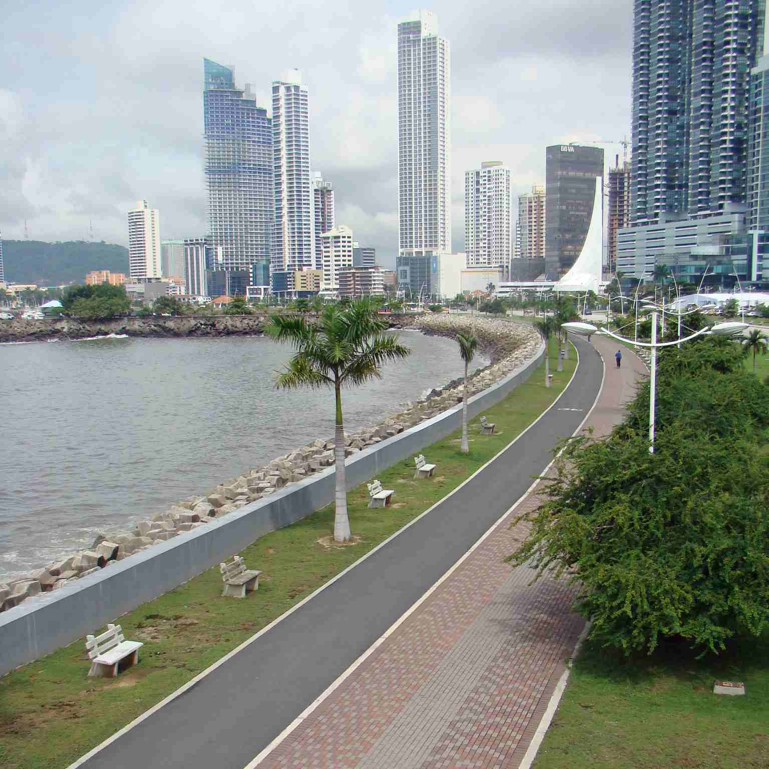 Jogging paths line the waterfront in the heart of Panama City, Panama.