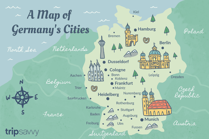 Map Of Germany And The Netherlands.Germany Cities Map And Travel Guide