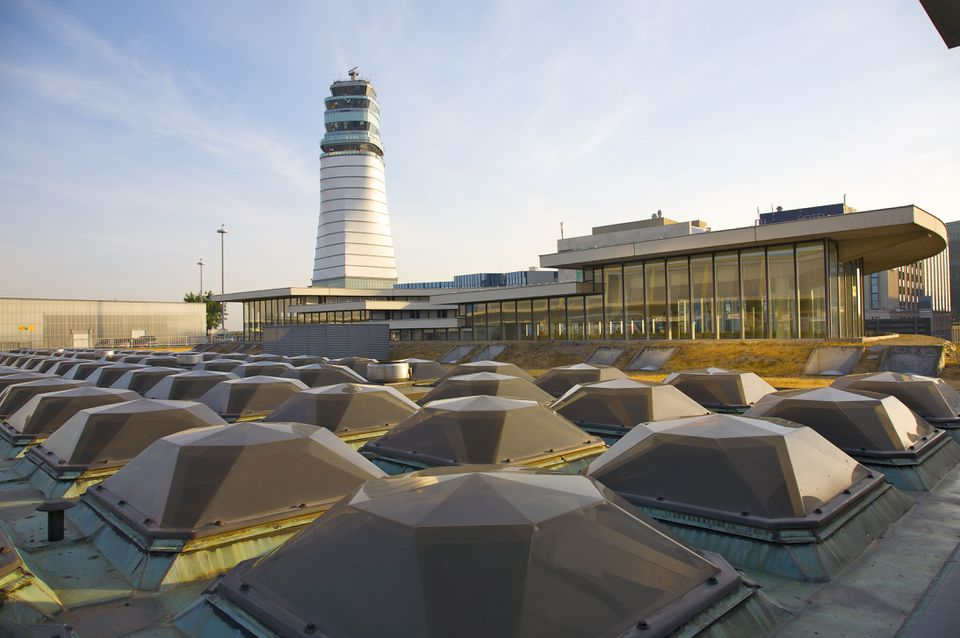 Skylights on rooftop and air traffic control tower at Vienna International Airport, Vienna, Austria