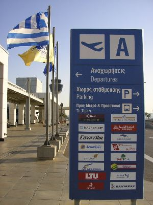 Sign at the Athens Airport