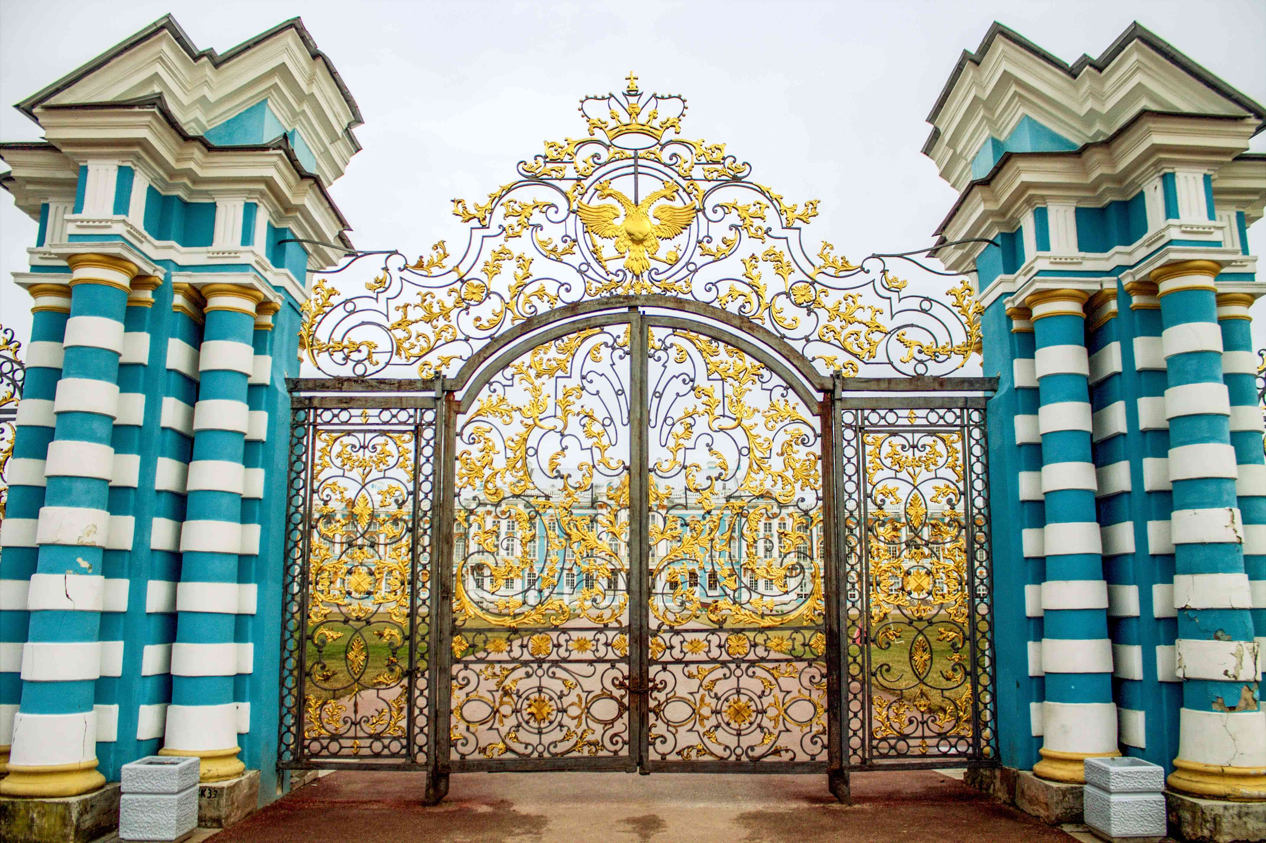 The ornate gates to Catherine Palace