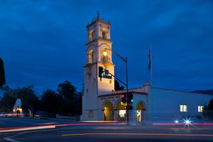 Ojai's Iconic Post Office Tower at Dusk