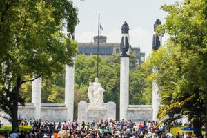 A large monument in the Park in Mexico City