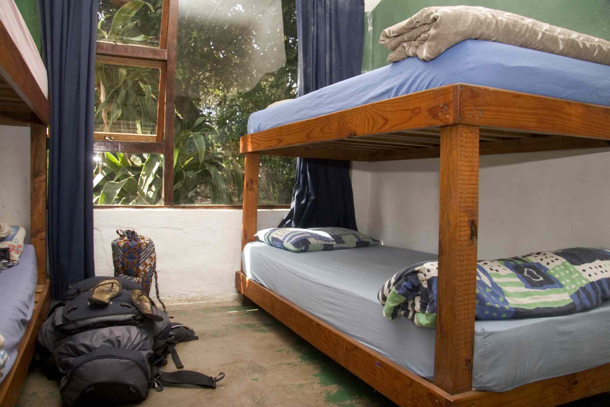 A typical dorm room in a hostel. This one is Coffee Shack Hostel in South Africa.