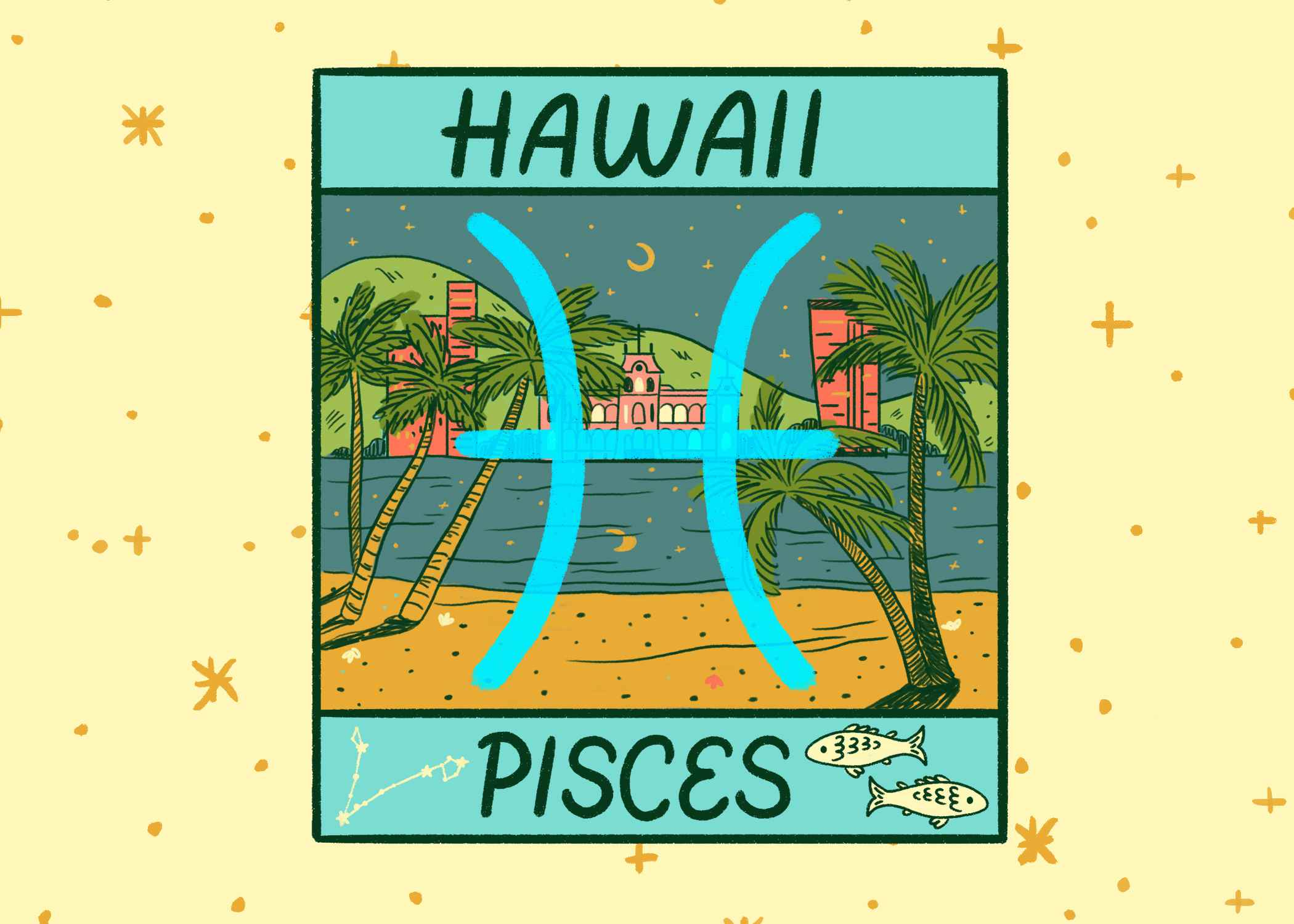 Illustration of Hawaii and Pisces