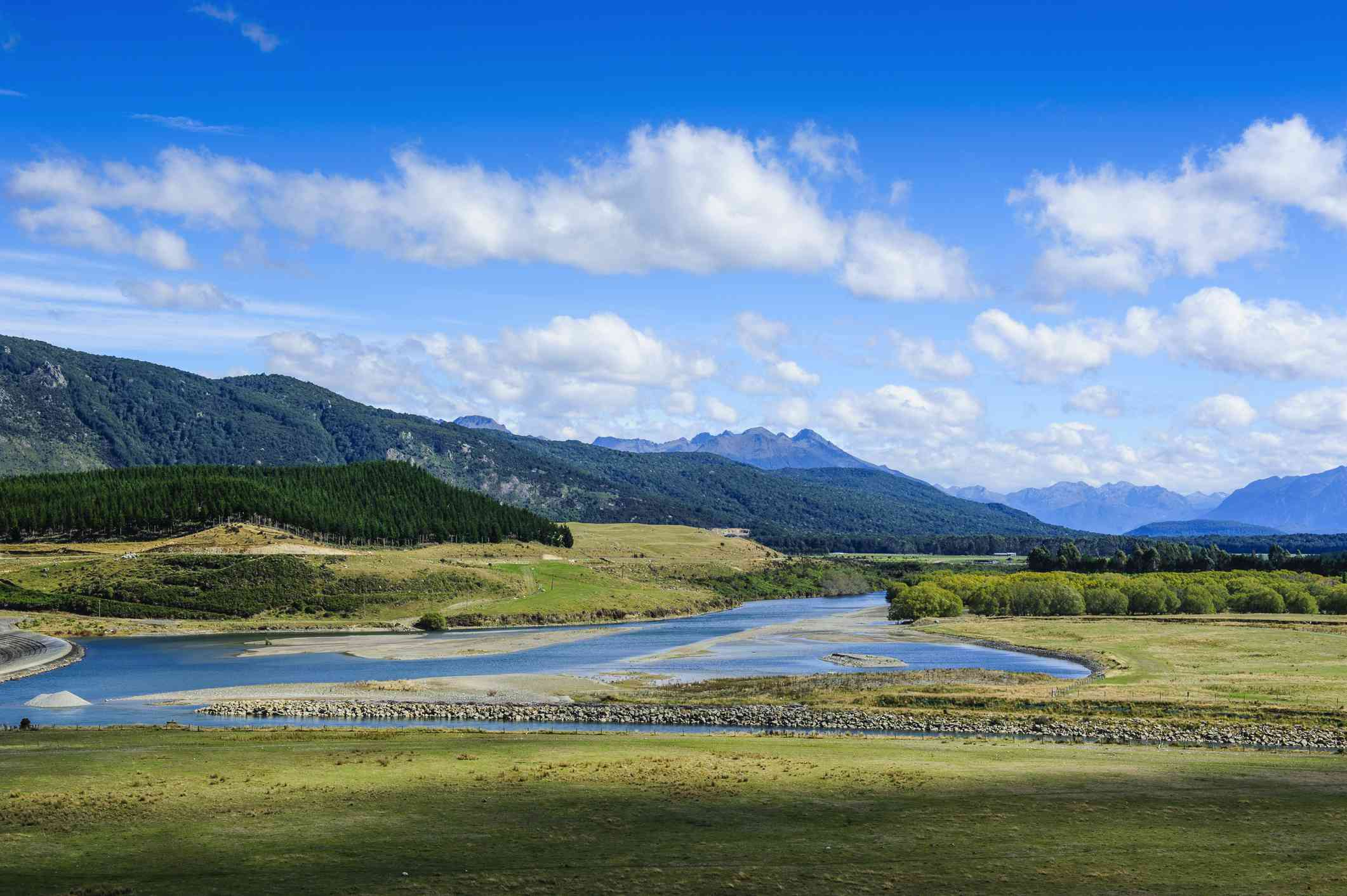grassy plains and mountains