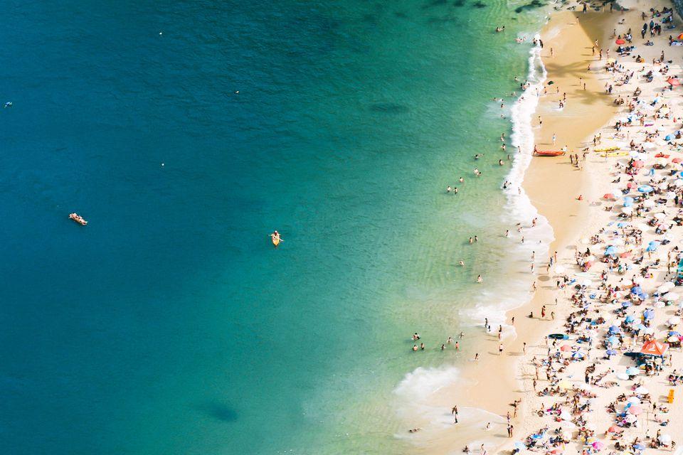 Overhead view of a beach