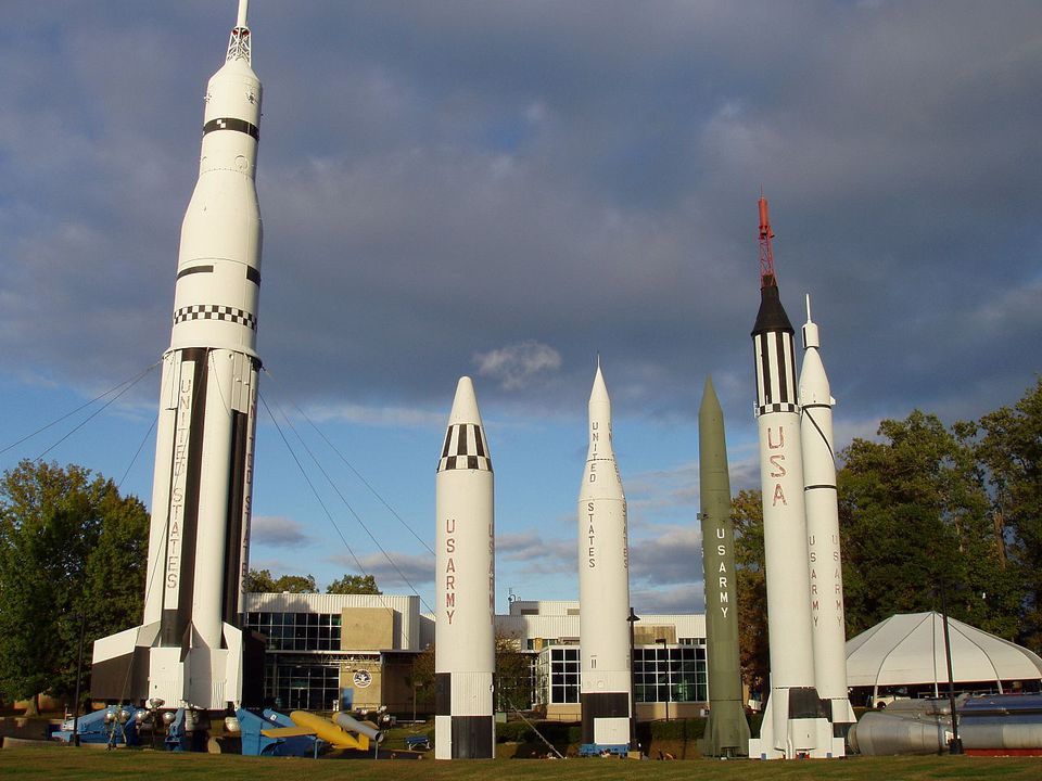 Rockets in an outdoor museum in Huntsville, Alabama.
