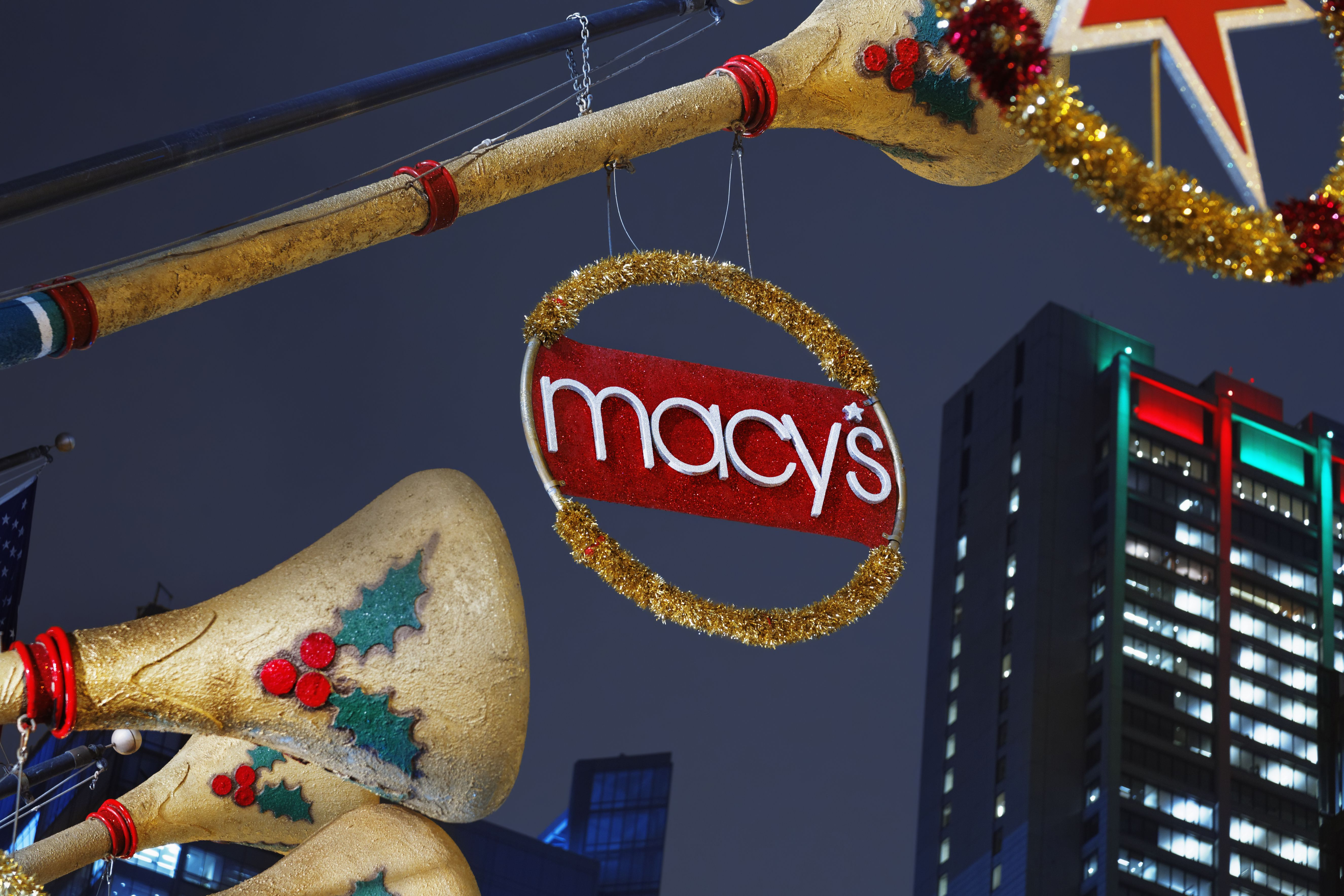 Christmas decorations on Macy's State Street Department Store, Chicago.