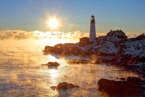 Winter Weather in Maine - Portland Head Light
